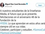 Felicita presidente cubano a los estudiantes de la Enseñanza Media